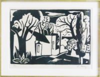 Alfred Frederick Krentz, SA(1899 - 1980), Motif from Rondebosch, Linocut 98-100, signed 28cm x 20cm got price