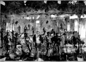 Asanda Kupa, SA ( 1981 - ) Running for our life, 2015, charcoal on paper, 100cm x 65cm, SOLD