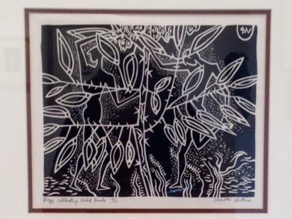Walter Battiss ( 1906 - 1982) Boys collecting Wild Fruits Woodcut 41/100 28 x 23cm