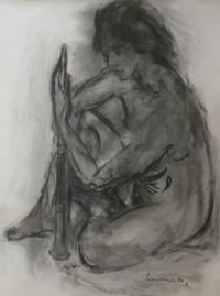 Jean Welz, SA 1900 - 1975, Nude with flute, Charcoal on paper, 48cm x 63,5cm