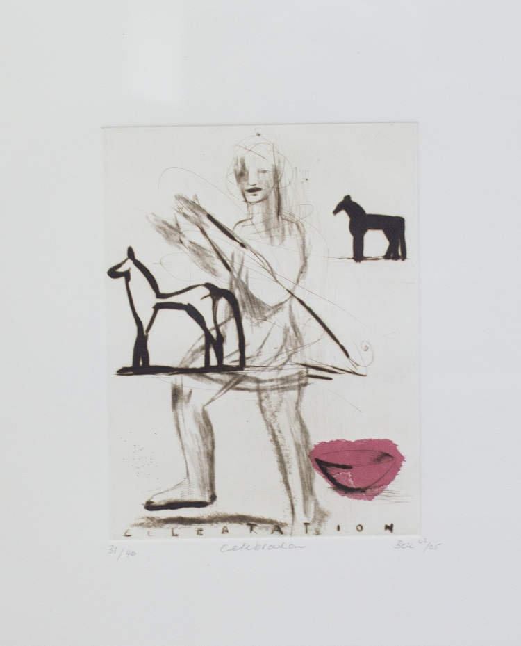 Deborah Bell SA, 1957- Celebration, 2005 Drypoint, on chine - colle, 15cm x 20cm
