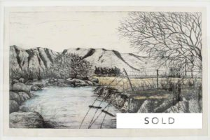 Phillemon Hlungwani (1974 - ) E Marhumbini ya ka Xinwana, 2005 Etching (A.P) 70 x 41 cm (SOLD)