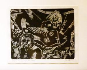 Walter Battis, SA (1906-1982) Rare Fish Woodcut 1/10, signed 12,5cm x 9,5cm