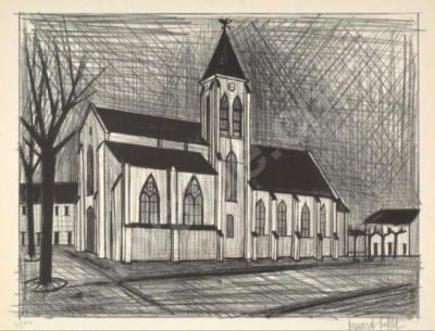 Bernard Buffet SA, 1928 - 1999 , L'Eglise Lithograph Signed & Numbered 84of100 in Pencil, 54cm x 67cm