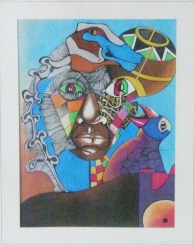 Nathaniel Mokgosi,SA(1946 - ), The Calling, mixed media , signed , 41cm x 60cm