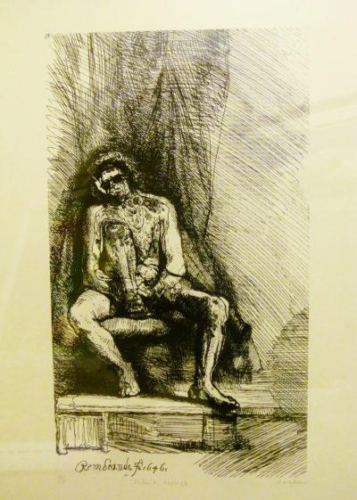 Oliver Mayhew,SA(1990 - ) , Infant Terrible(Rembrandt), ,Linocut 2-5, signed, 35cm x 50cm.