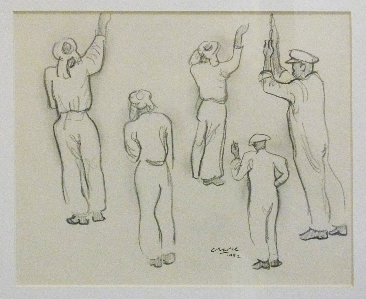 Peter Clarke, Pencil Drawing 1952 17cm x 21cm.