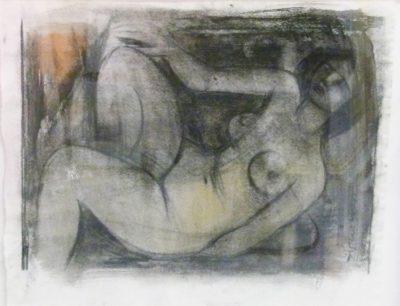 Maurice van Essche, Belgium (1906 - 1977), Nude Reclining, Charcoal, signed 37cm x 31cm.