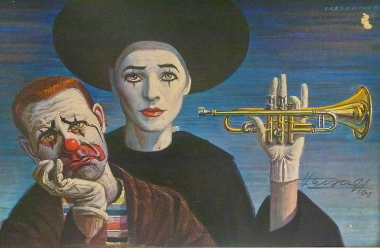 Vladimir Tretchikoff, Russia-SA(1913 - 2006), Clowns , Print 1968 , 40cm x 25cm