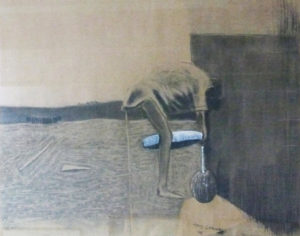 Amos Letsoalo SA, 1969- Drawing water, signed 2005 Mixed media on paper 75cm x 60cm