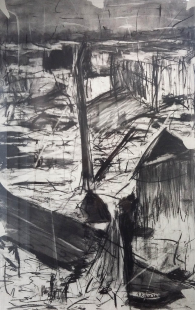 Asanda Kupa, SA 1981-, Township I, signed 2016 Charcoal on fabriano 100cm x 65cm