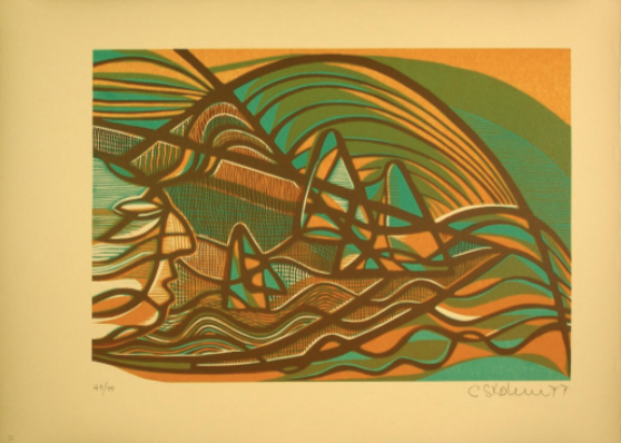 """Cecil Skotnes, SA (1926 - 2009) Man's Gold Portfolio-""""Song of Raiders"""" 2 - The Exploration of Africa Woodcut, 72/75, signed 1977 38,5cm x 53,5cm"""