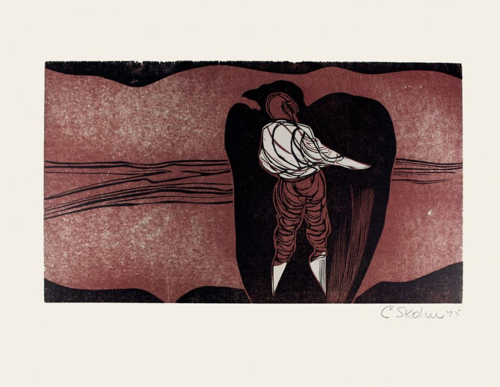 Cecil Skotnes, SA( 1926 -2009), He inspects the Aviary, no.5, Colour woodcut, signed 1975, 56cm x 73,5cm