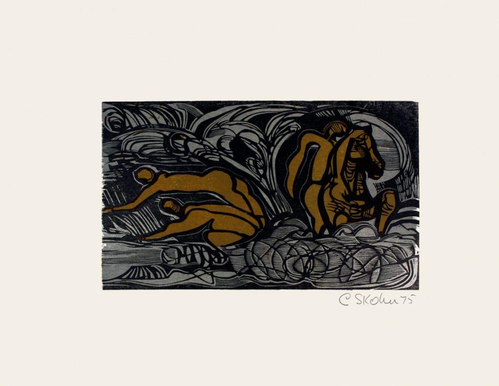 Cecil Skotnes, SA (1926 - 2009), His first successful Landing, no.11, colour woodcut, singed 1975, 56cmx 73,5cm