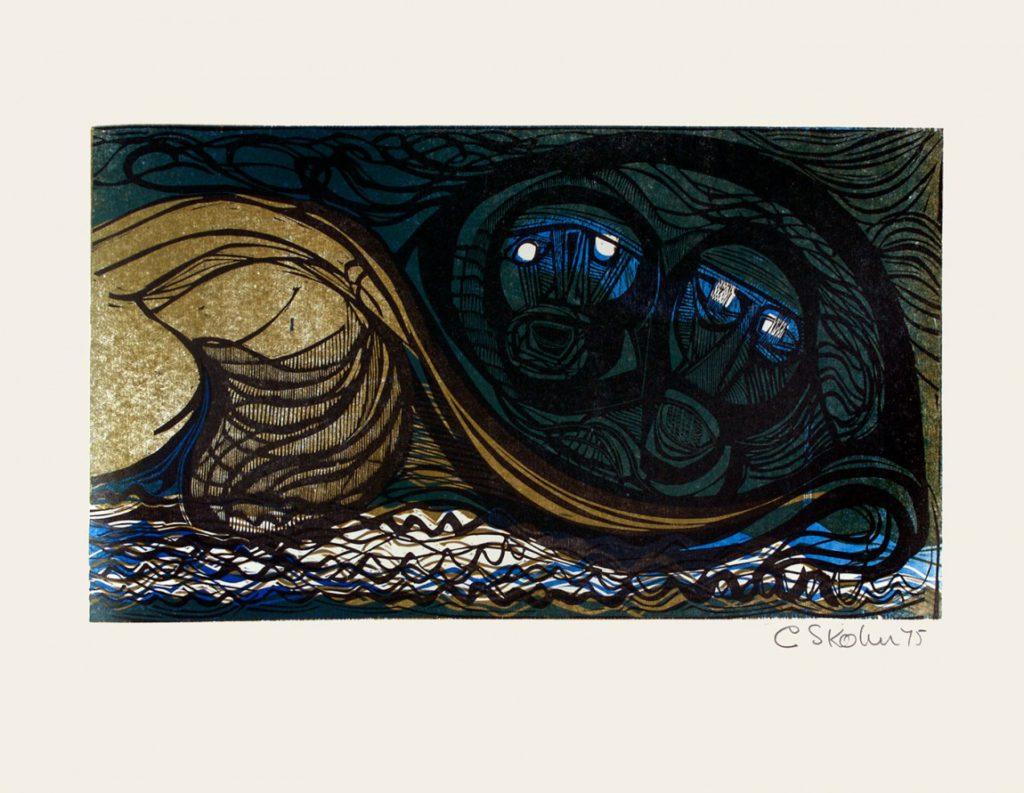 Cecil Skotnes, SA (1926 -2009), His second brave pair,No.12, colour woodcut, signed 1975, 56cm x 73,5cm
