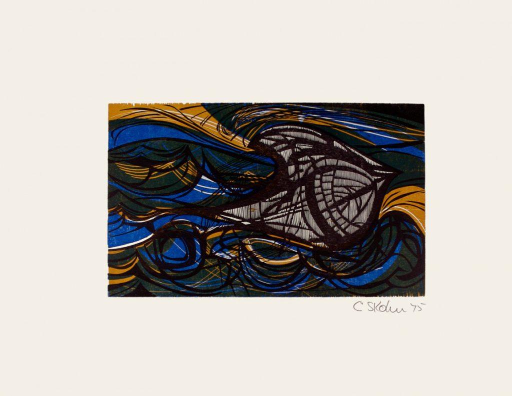 Cecil Skotnes, SA (1926 - 2009) The Jonge ThomasCapsizes,no. 9, colour woodcut ,signed 1975, 56cm x 73,5cm_