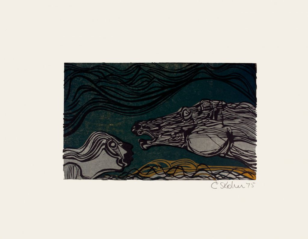 Cecil Skotnes, SA (1926 - 2009) , Woltemade rescues two sailors, colour woodcut , signed 1975, 56cm x 73,5cm