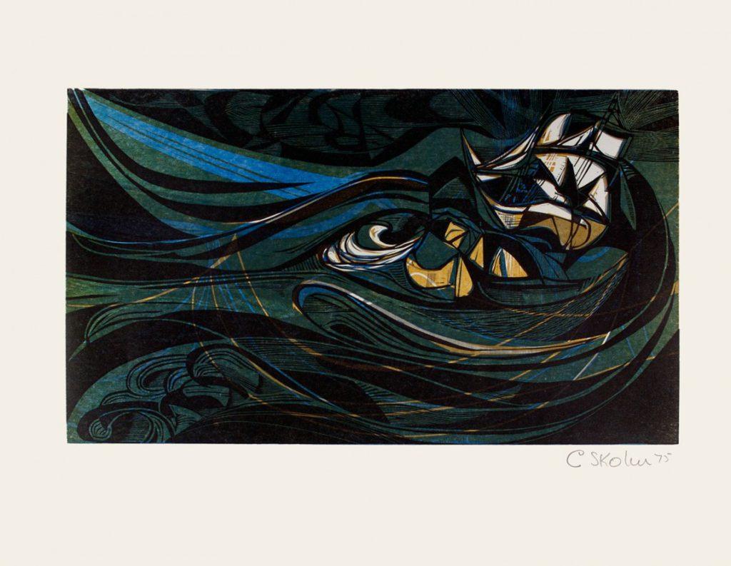 Cecil Skotnes, SA (1926 - 2009),The Jonge Thomas on her beam-ends, no.7, colour woodcut, signed 1975, 56cm x 73,5cm_