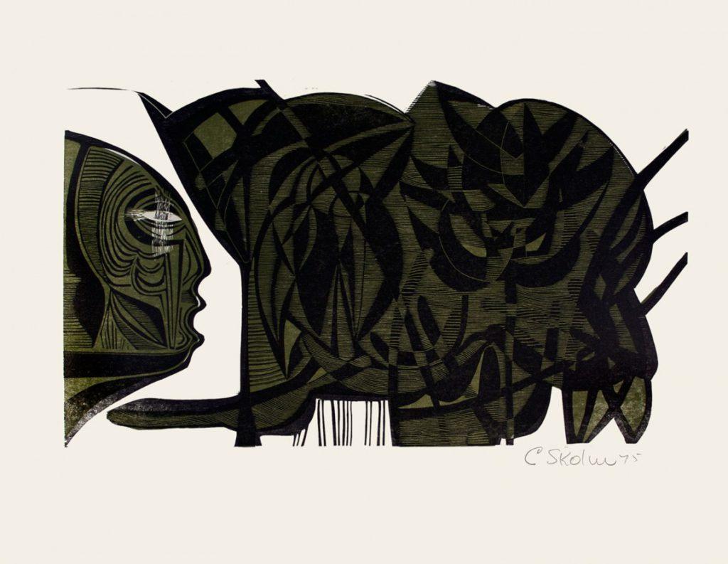 Cecil Skotnes, SA(1926 - 2009), He waters the Tropical Glasshouse, No.4 , colour woodcut, signed 1975, 56 cm x 73,5cm