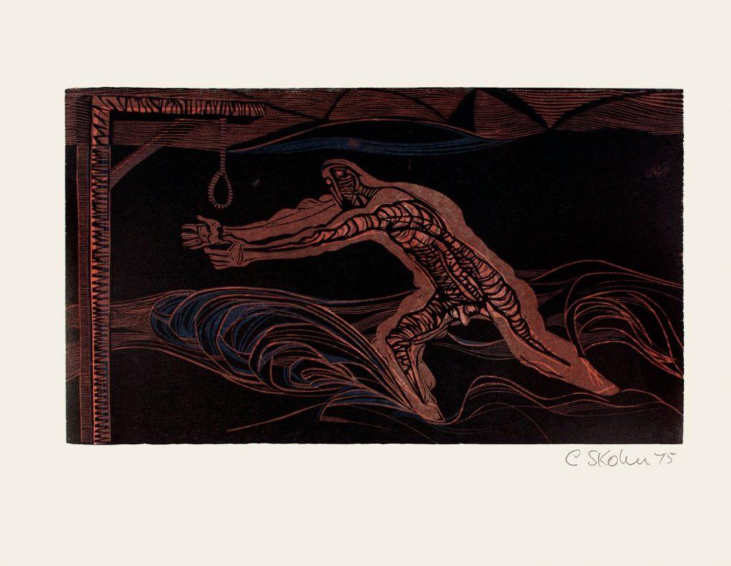 Cecil Skotnes, SA(1926 - 2009), The Gunner makes Land , no. 8, colour woodcut, signed 1975, 56cm x 73,5cm