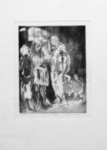 Cyprian Shilakoe, SA, 1946-1972 We are leaving, 1969 Etching and aquitint signed 28 of 35, 24cm x 31cm