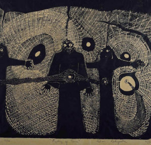 Daniel Rakgoathe (SA, 1937-2004) Mystery of Time, signed in pencil 1974 Linocut 4/50 59,5cm x 54cm