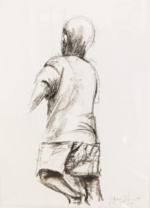 Nelson Makhamo Young Boy Running, 2007 Charcoal on paper 58cm x 41cm