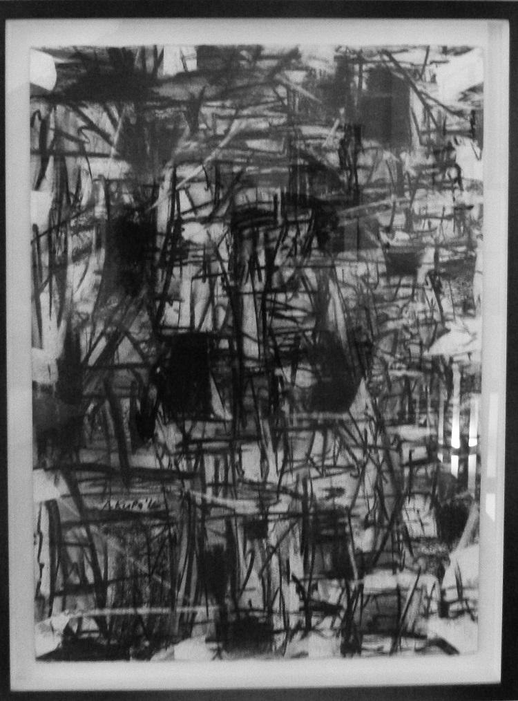 Asanda Kupa, SA 1981-, Township life, signed 2016 Charcoal on fabriano 49cm x 70cm