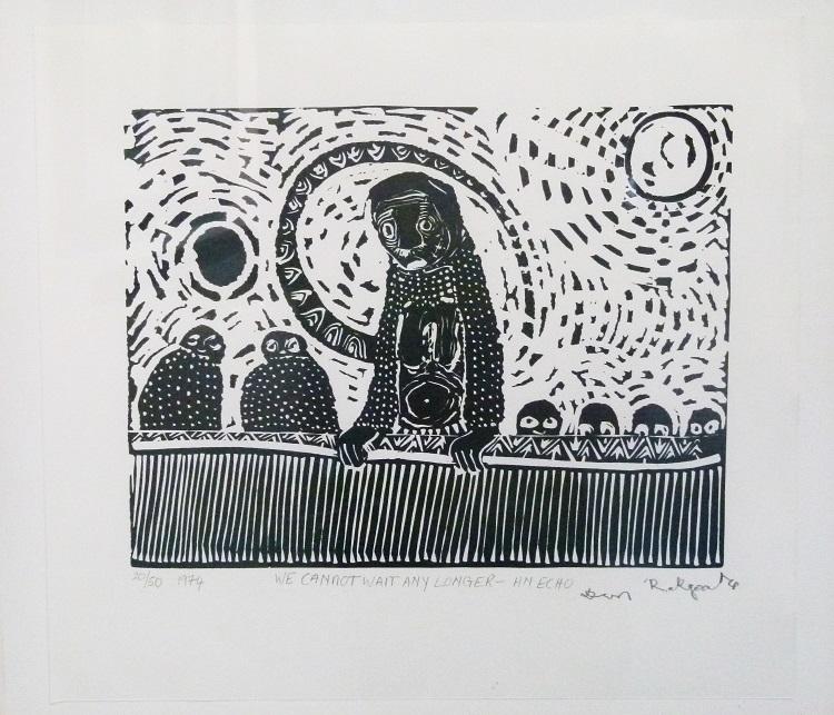 Daniel Rakgoathe (SA, 1937-2004) We cannot wait any longer- an echo, 1974 Linocut, signed 20 of 50 38cm x 34cm