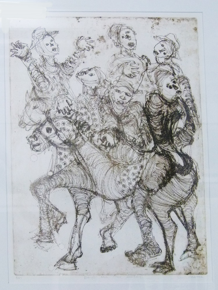Eric Mbatha SA, (1948 - ) Boys and the Donkey Etching 50cm x 70cm