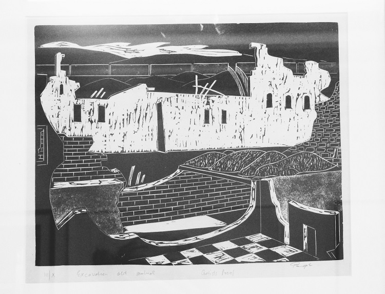 Frederick Page, SA, 1908-1984, Excavation Old Mutual woodcut, signed III of X 48cm x 39cm (1)