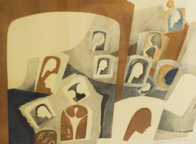 Bettie Cilliers Barnard, SA 1914 - 2010, Untitled, Paris, 1981 Stone colour lithograph, edition 50, 63cm x 48cm