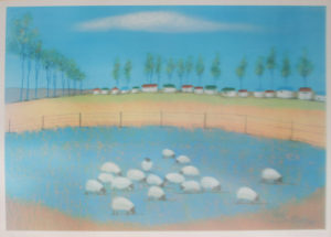 Pieter van der Westhuizen, SA (1931-2008) Happy Fields Lithograph 121/375 , signed 1999 85cmx 58cm