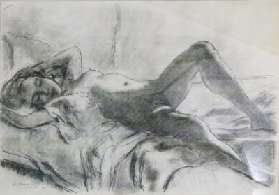 Robert Broadly, UK/SA (1908-1988) Reclining Nude, Pen and Charcoal, signed 1979, 59 x 42cm.