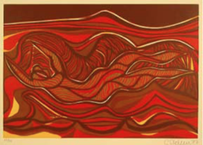 """Cecil Skotnes, SA (1926 - 2009) Man's Gold Portfolio: """"Song of gold coming in"""" 3 Woodcut, 72/75, signed 1977 38,5cm x 53,5cm"""