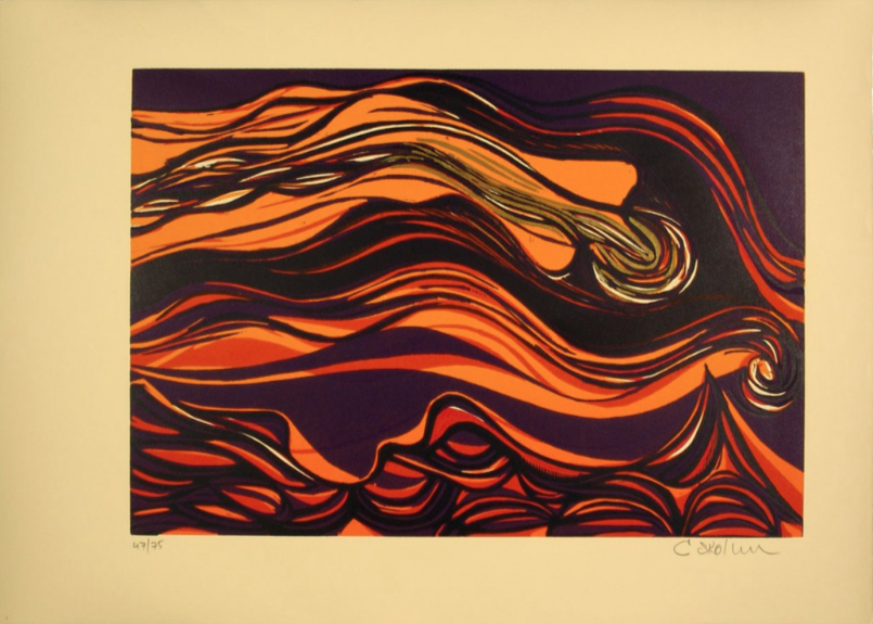 """Cecil Skotnes, SA (1926 - 2009) Man's Gold Portfolio: """"Song of gold coming in"""" 1 Woodcut, 72/75, signed 1977 38,5cm x 53,5cm"""
