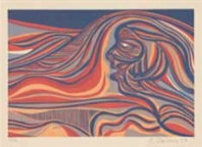 """Cecil Skotnes, SA (1926 - 2009) Man's Gold Portfolio: """"The Anthropologist"""" 1 (The Early Miner) Woodcut, 72/75, signed 1977 38,5cm x 53,5cm"""