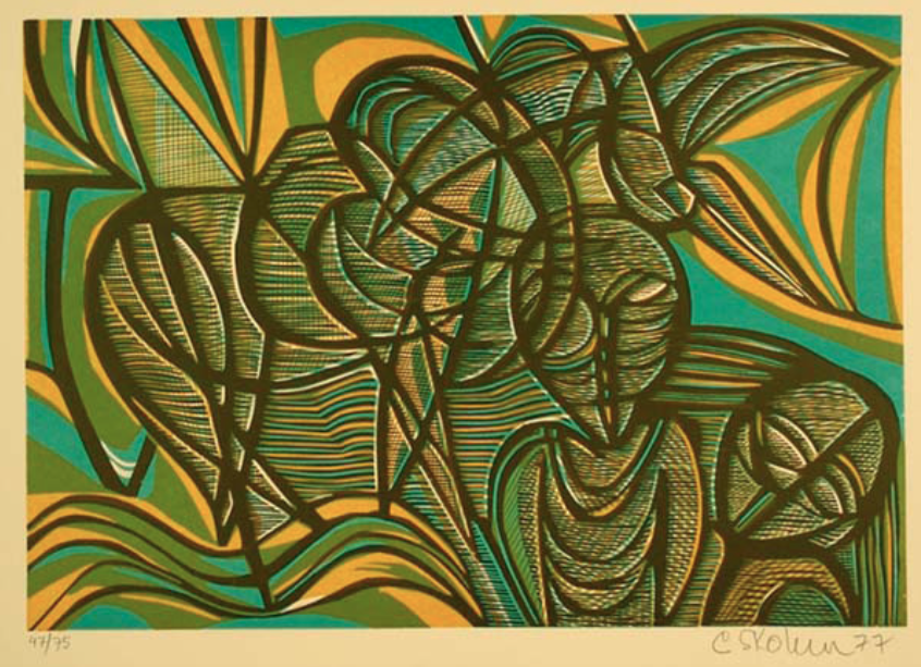 """Cecil Skotnes, SA (1926 - 2009) Man's Gold Portfolio: """"The Anthropologist"""" 4 (The Early Miner) Woodcut, 72/75, signed 1977 38,5cm x 53,5cm"""