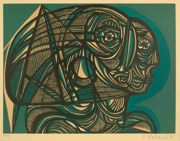 """Cecil Skotnes, SA (1926 - 2009) Man's Gold Portfolio: """"The Song of the Alchemist"""" 2 (Uses of Gold Woodcut, 72/75, signed 1977 38,5cm x 53,5cm"""