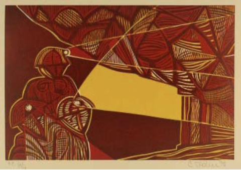 """Cecil Skotnes, SA (1926 - 2009) Man's Gold Portfolio: """"The Song of the Miners"""" 3 (Deep level miners) Woodcut, 72/75, signed 1977 38,5cm x 53,5cm"""