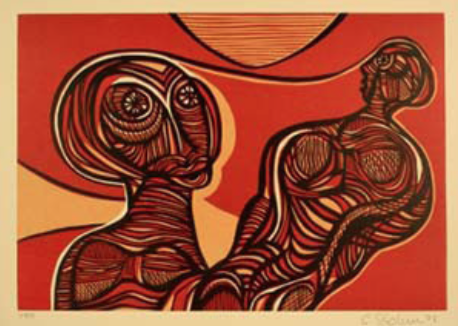 """Cecil Skotnes, SA (1926 - 2009) Man's Gold Portfolio: """"The Song of the Alchemist"""" 3 (Uses of Gold) Woodcut, 72/75, signed 1977 38,5cm x 53,5cm"""