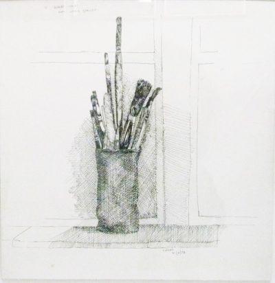 Simon Stone, 12 Albert Court, signed 1973 , Pen and Ink on Paper, 50 x 52cmjpg