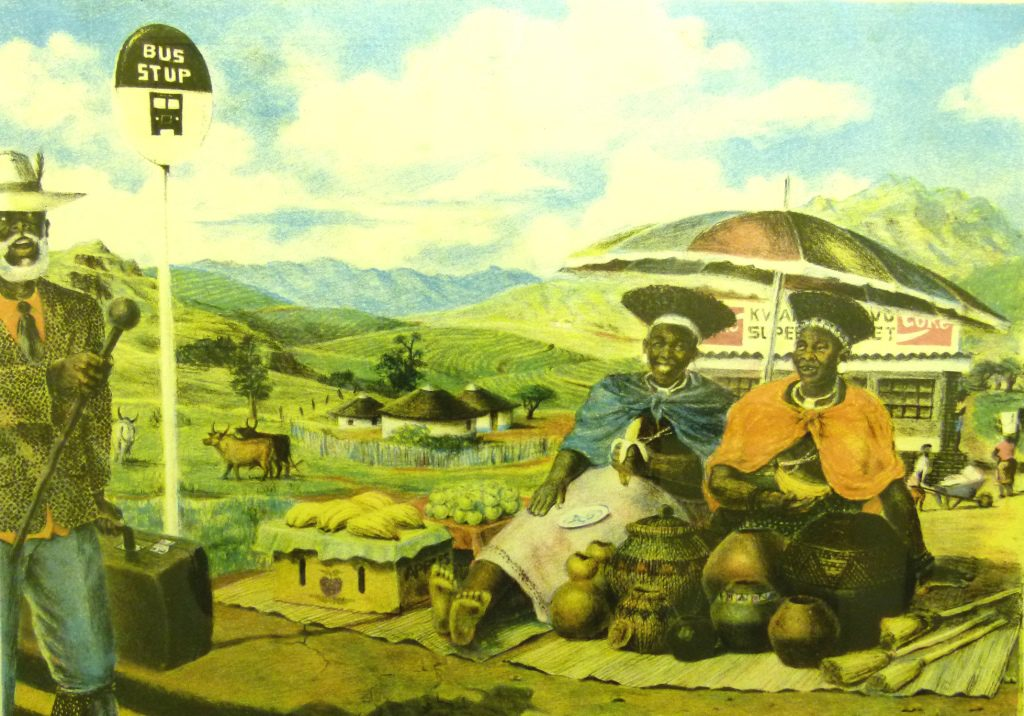 Sthembiso Sibisi, SA ( 1976 - 2006), Welcome to Kwazulu, coloured lithograph, 38-50, signed, 47cm x 34cm, SOLD