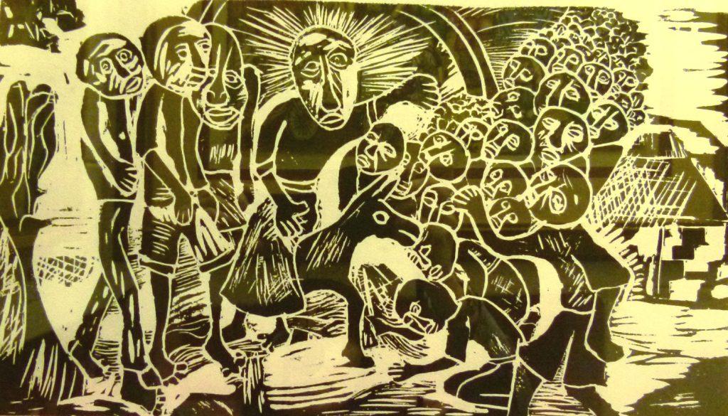 V. Zulu, Man on a Donkey, Woodcut 6/50, 41,5cm x 25cm , SOLD