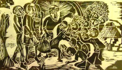 V.Zulu, Man on a Donkey, Woodcut 6-50, 41,5cm x 25cm , SOLD