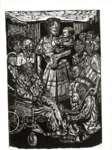 Norman Kaplan, All shall be afforded dignity, woodcut 49-50, signed 1996, 38cm x 56cm