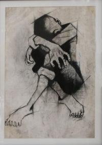 Julian Motau, SA (1948-1968) Untitled, Charcoal on paper, signed 1967, 36cm x 49cm