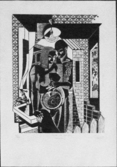 David John Yule, SA (1960-), Safe as Houses, 1996, Linocut 49/50, 40,5cm x 29cm