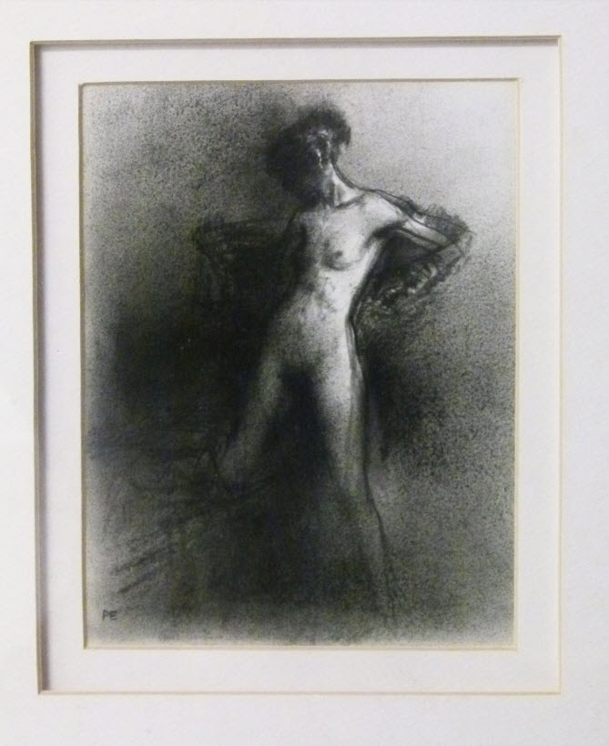 Paul Emsley, British (1947-) Dressing Nude, charcoal on paper, 18cm x 13cm
