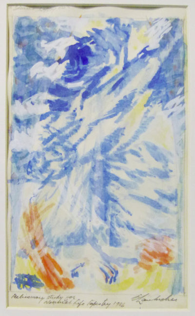 Erik Laubscher, SA (1927 -2013), Preliminary study for life tapestry, watercolour, signed 1986,